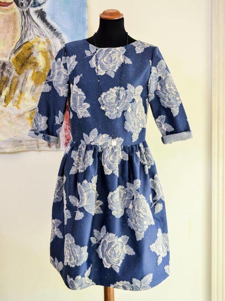 Sporty Dress Blue Silk