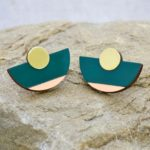 Two Color Semicircle Earrings